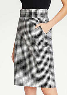Ann Taylor Petite Gingham Pencil Skirt