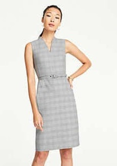 Ann Taylor Petite Glen Plaid Belted Sleeveless Dress