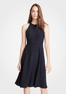 Ann Taylor Petite Halter Bow Back Flare Dress