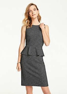 Ann Taylor Petite Herringbone Peplum Sheath Dress