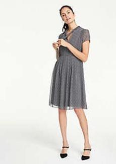 Ann Taylor Petite Herringbone Tie Neck Midi Dress