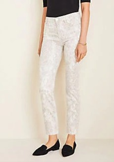 Ann Taylor Petite High Rise Straight Ankle Jeans in Snake Print