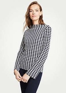 Ann Taylor Petite Houndstooth Mock Neck Sweater