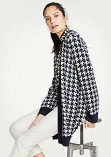 Ann Taylor Petite Houndstooth Open Cardigan