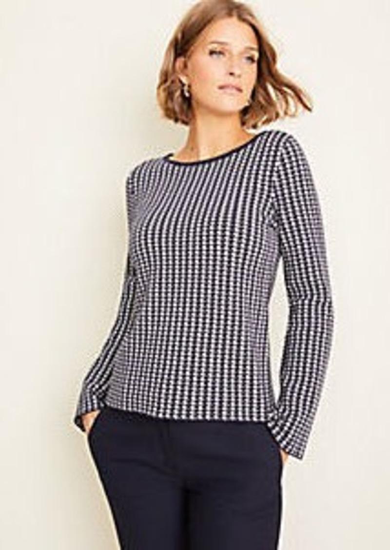 Ann Taylor Petite Houndstooth Seasonless Yarn Boatneck Sweater