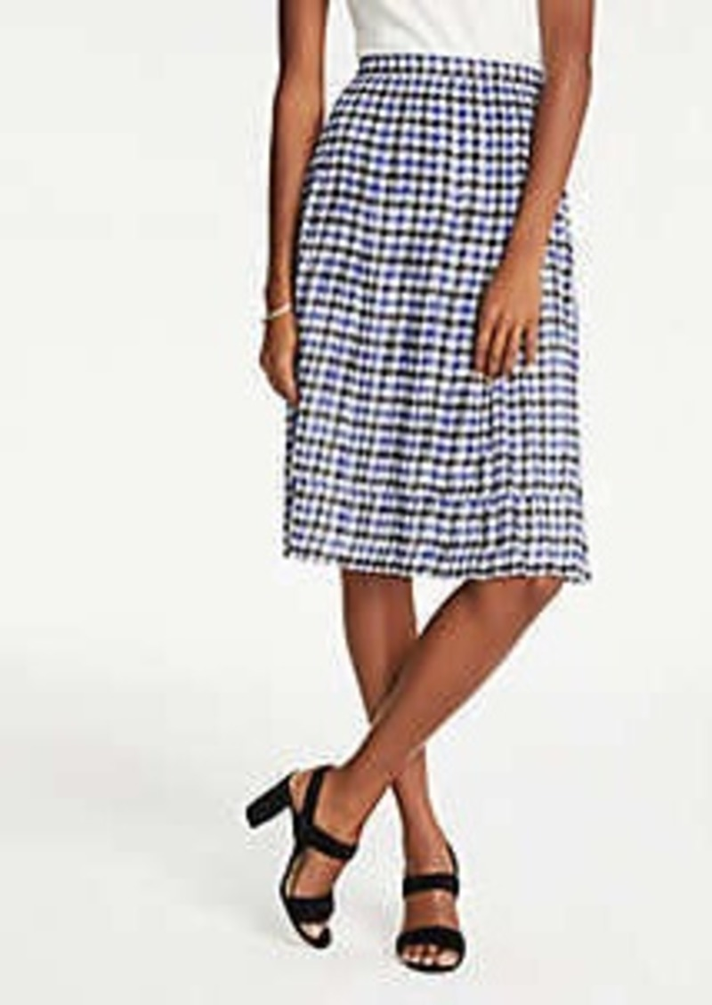Ann Taylor Petite Houndstooth Pleated Skirt