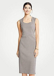 Ann Taylor Petite Houndstooth Square Neck Sheath Dress