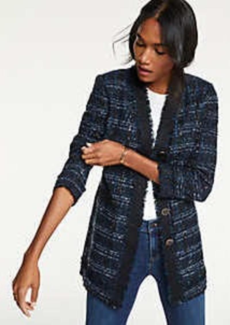 Ann Taylor Petite Houndstooth Tweed Jacket