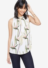 Ann Taylor Petite Island Floral Pleated Shell