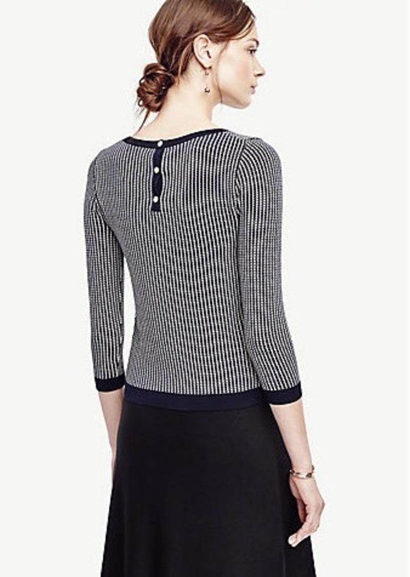 Ann Taylor Petite Jacquard Button Back 3/4 Sleeve Sweater