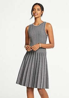Ann Taylor Petite Jacquard Pleated Flare Sweater Dress
