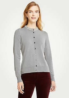 Ann Taylor Petite Jeweled Neck Ann Cardigan