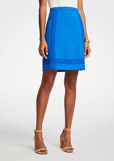 Ann Taylor Petite Lace Trim A-Line Skirt