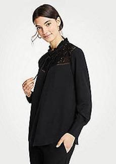 Ann Taylor Petite Lacy Velvet Tie Blouse