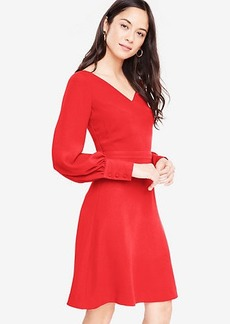 Petite Lantern Sleeve Flare Dress