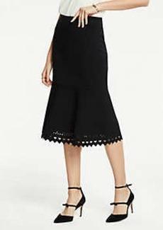 Ann Taylor Petite Laser Cut Flounce Sweater Skirt