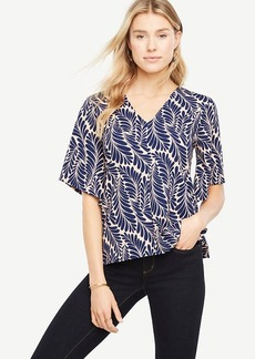 Petite Leafed Crepe Jersey Wide Sleeve Top