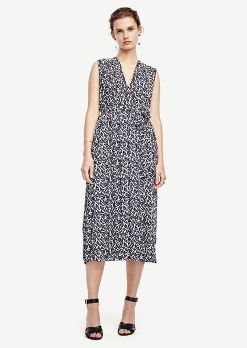 Ann Taylor Petite Leaves Pleated Tie Waist Dress