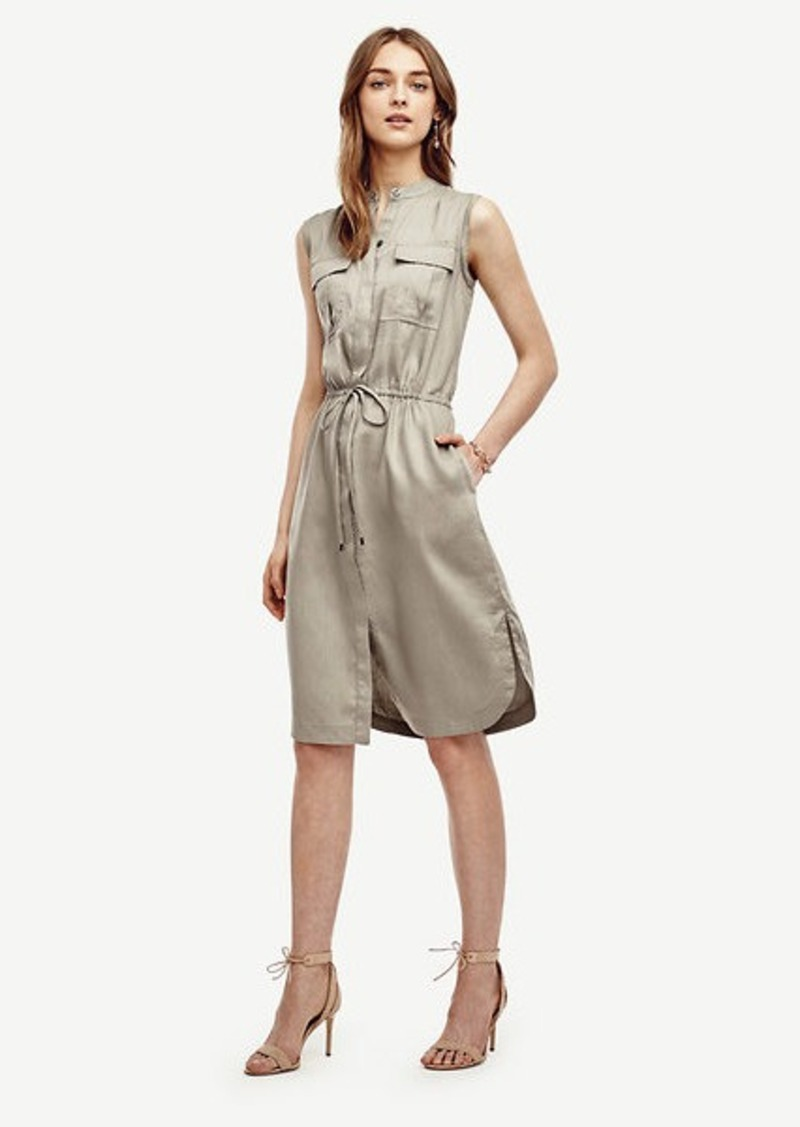 Ann Taylor Petite Linen Blend Drawstring Shirtdress
