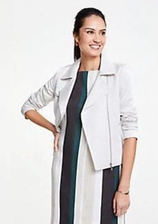 Ann Taylor Petite Linen Blend Moto Jacket
