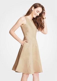 Ann Taylor Petite Linen Cotton Flare Dress