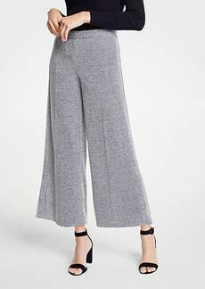 Ann Taylor Petite Marled Knit Wide Leg Crop Pants