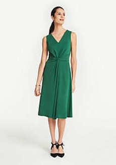 Ann Taylor Petite Matte Jersey Knot Front Midi Dress