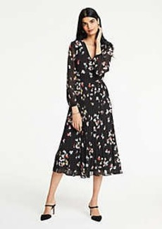 Ann Taylor Petite Meadow Floral Pleated Wrap Dress