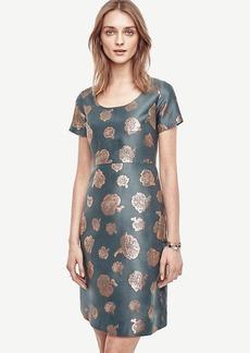 Petite Metallic Jacquard Flare Dress