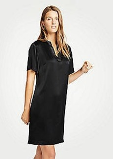 Ann Taylor Petite Metallic Split Neck Shift Dress
