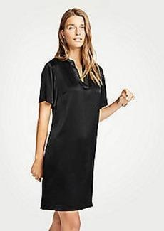 Ann Taylor Petite Metallic Split Neck Shift Dress