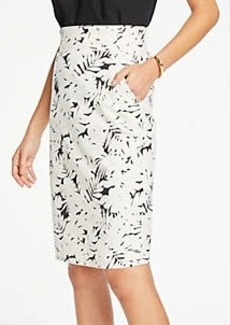 Ann Taylor Petite Midnight Jungle Pleated Waist Pencil Skirt