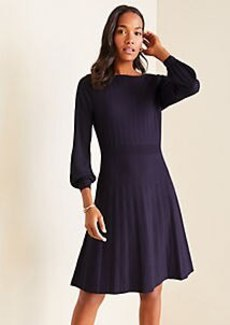 Ann Taylor Petite Mixed Media Flare Sweater Dress