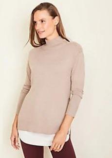 Ann Taylor Petite Mixed Media Mock Neck Sweater