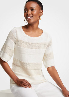 Ann Taylor Petite Mixed Stitch Short Sleeve Sweater