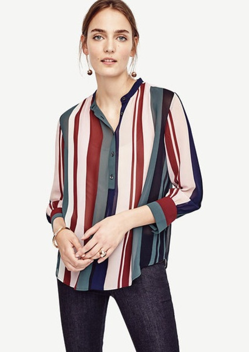 Ann Taylor Petite Mixed Stripe Popover