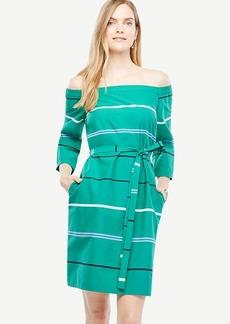 Petite Off The Shoulder Striped Poplin Dress