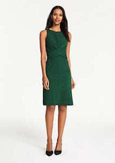 Ann Taylor Petite Patchwork Stripe Wrap Front Dress