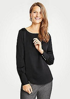Ann Taylor Petite Pearlized Cuff Boatneck Blouse