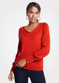 Ann Taylor Petite Pearlized Cuff V-Neck Sweater