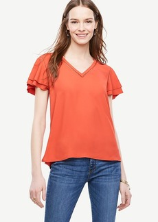 Petite Perforated Flutter Top