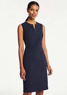 Ann Taylor Petite Pindot Split Neck Sheath Dress