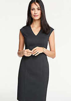 Ann Taylor Petite Pindot V-Neck Sheath Dress