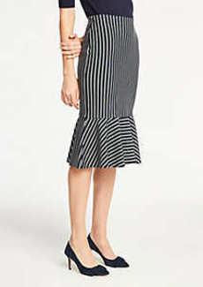 Ann Taylor Petite Pinstripe Flounce Knit Pencil Skirt