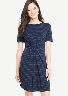 Petite Pinstripe Knotted Tee Dress