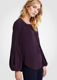 Ann Taylor Petite Pintucked Sleeve Popover