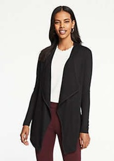 Ann Taylor Petite Piped Draped Open Cardigan