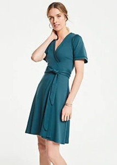 Ann Taylor Petite Piped Flutter Sleeve Wrap Dress
