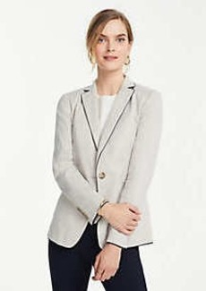 Ann Taylor Petite Piped Linen Blend One Button Blazer