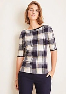 Ann Taylor Petite Plaid Boatneck Sweater